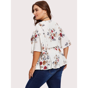 Flutter Sleeve Surplice Wrap Peplum Top
