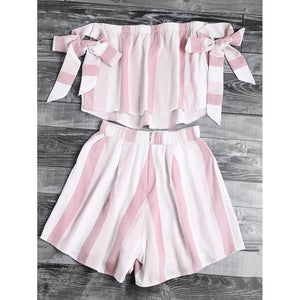 Two Piece Bow Sleeve Top with Shorts