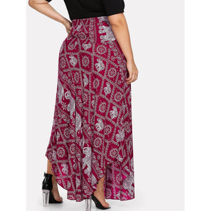 Elephant Print Knot Detail Skirt