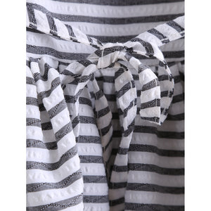 Striped Waist Tie Dip Hem Top