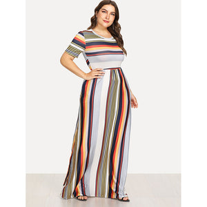 Contrast Striped Hidden Pocket Dress Plus Size