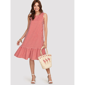 Pinstripe Ruffle Hem Swing Dress