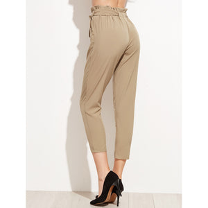 Tie Waist Shirred Peg Pants