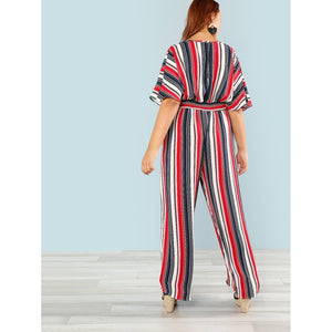 V Neck High Waist Wide Leg Striped Jumpsuit