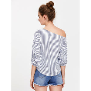 Shoulder Gathered Lantern Sleeve Top
