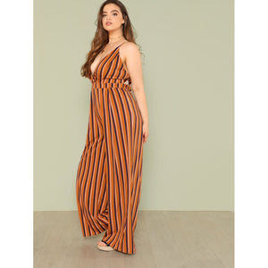 High Waist Wide Leg Wrap Striped Cami Jumpsuit