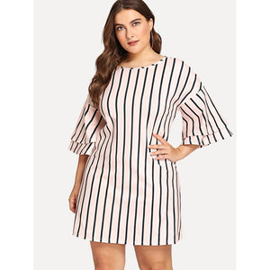 Double Sleeves Striped Dress Plus Size