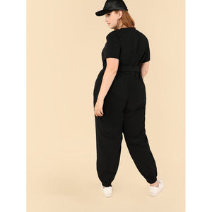 Drop Crotch Lantern Hem Jumpsuit
