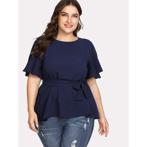 Split Sleeve Belted Detail Knot Top