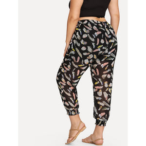 Feather Print Pants