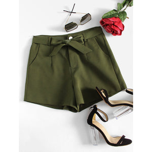 Knot Front High Waist Shorts