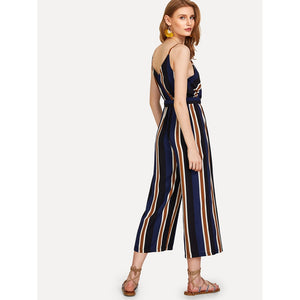 V Neckline Tie Side Striped Jumpsuit