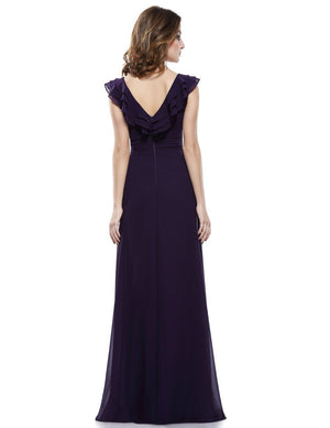 V-neck Empire Waist Evening Dress