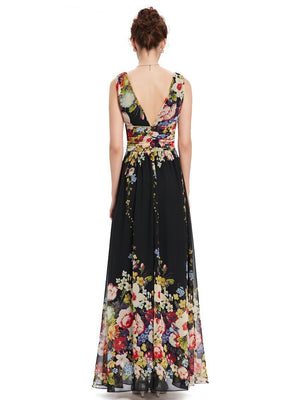 Sleeveless Long Flower Print Evening Dress