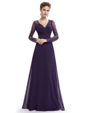 Elegant V-neck Long Sleeve Evening Dresses