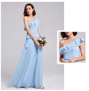 Sexy One Shoulder Ruffles Bridesmaid Dress