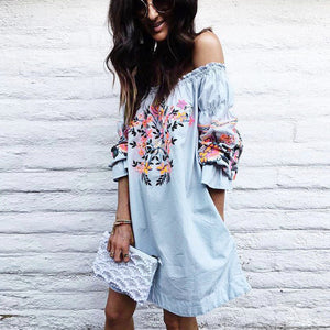 Floral Printed Mini Party Dress