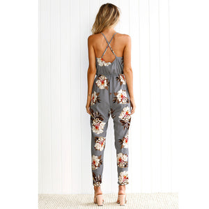 Sexy strap floral print jumsuits