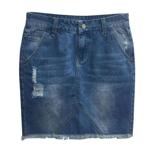 Split Road Denim Mini Skirt