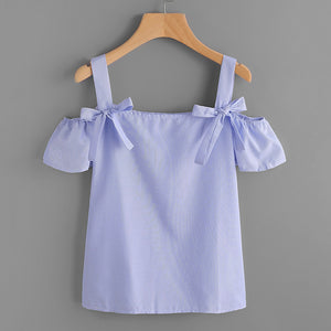 Off Shoulder Spaghetti Strap Blue Blouse