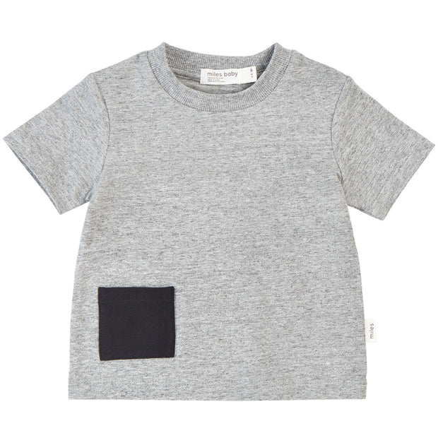 T-Shirt with Contrast Pocket - Heather Grey