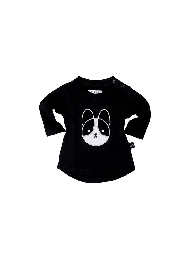 Frenchie Applique Long Sleeve Top - Black