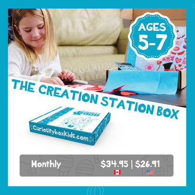 Creation Station Box Monthly Subscription Plans for Ages 5-7- Curiosity-Box-Craft-and-Educational-Boxes-Kids-Monthly-Subscription-Box