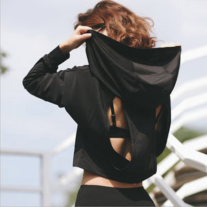 Women Hoodie Sweatshirt Backless Hollow Out Sweatshirt Women Workout Cropped Hoodies for Women Sportswear Fitness Sudadera mujer