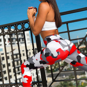 Women Camouflage Yoga Running Pants Gym Workout Fitness Clothes Sport Wear