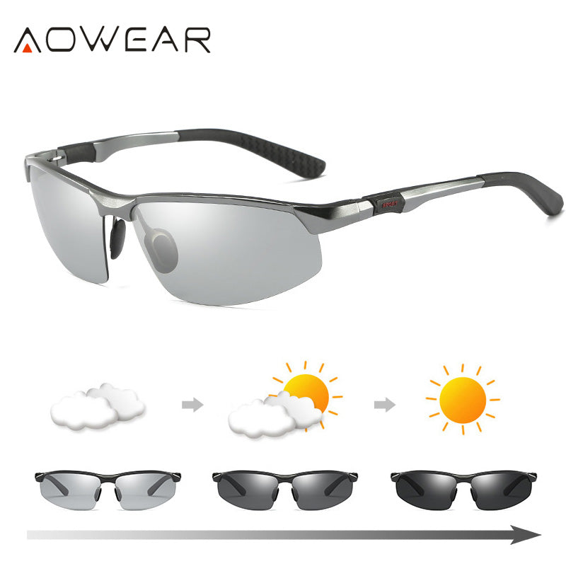 3ca4cc5247 AOWEAR HD Men s Photochromic Polarized Sunglasses Men Polarized Chameleon  Glasses for Day Night Driving Anti-