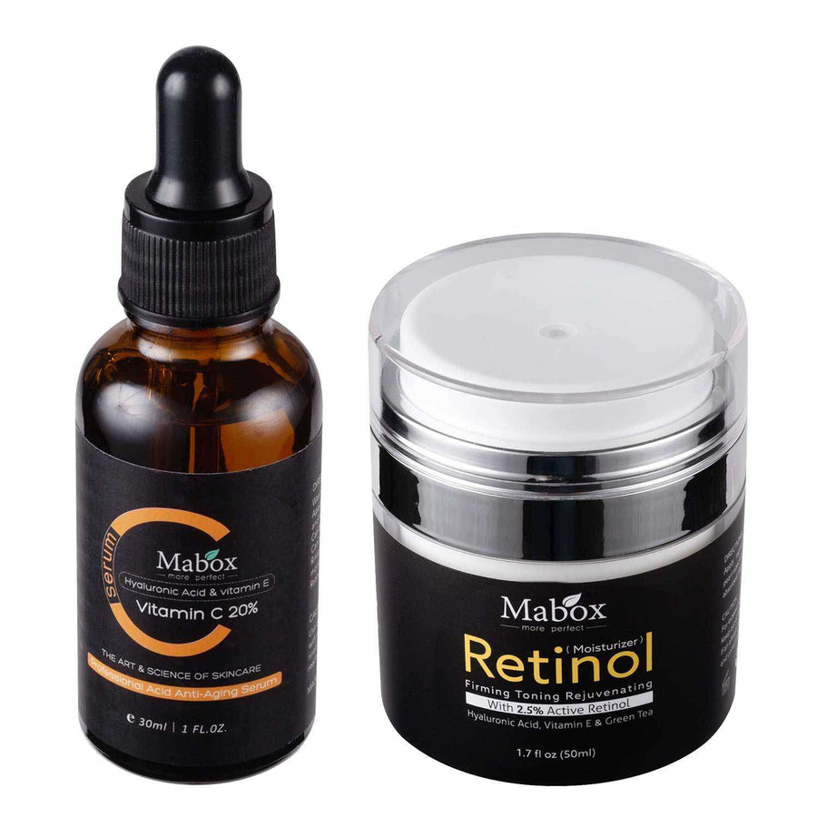 Save 25% off on Mabox Bundle: Vitamin C Acne Clarifying Serum + 2.5% Retinol Moisturizer Face Cream