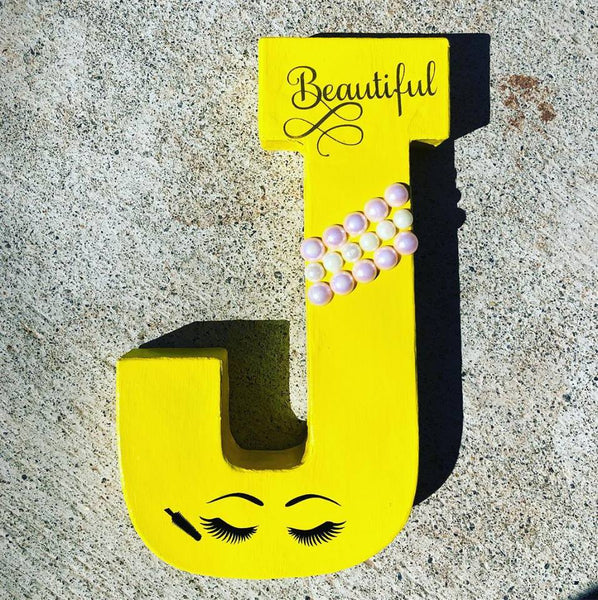 Beautiful Eyelash 8 inch Letter Decor | Freestanding Paper Mache Letter | Girl Decoration | Birthday Photo Shoot Prop