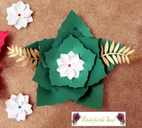 Floral Set of 7 Poinsettia Paper Flowers | Home Decor | Winter Theme