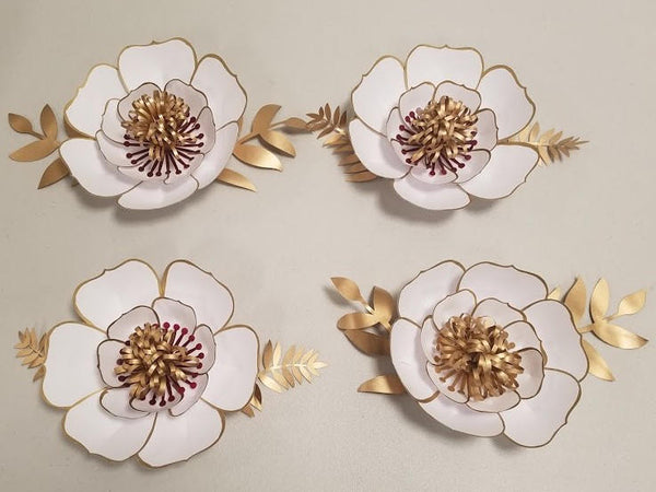 Set of 4 Piece White Gold Cherry Paper Flower | Office Decor | Home Decor | Wall Hanging | Royal Theme Party