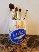 Hello Kiss Me  Makeup Brush Holder | Makeup Brush Jar | Glitter Makeup Jar | Cosmetic Holder | Gift For Her | Younique | Self Love