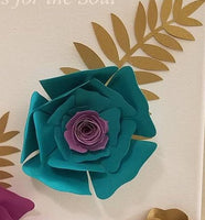 Purple, Teal, and Gold Paper Flower with Silver Leaves Wall Art | Paper Flower Canvas | Home Decor | Living | Bedroom | Nursery Decor | Gift