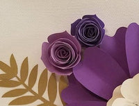Purple and Pearl Paper Flower with Gold Leaves Wall Art | Paper Flower Canvas | Home Decor | Living | Bedroom | Nursery Wall Decor | Gift