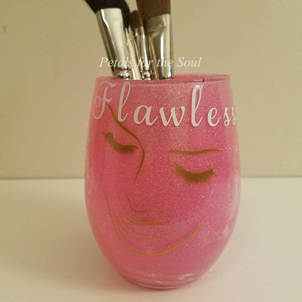 Simple Flawless Lady with Glitter Makeup Brush Holder | Makeup Brush Jar | Glitter Makeup Jar | Cosmetic Holder | Gift For Her | Younique