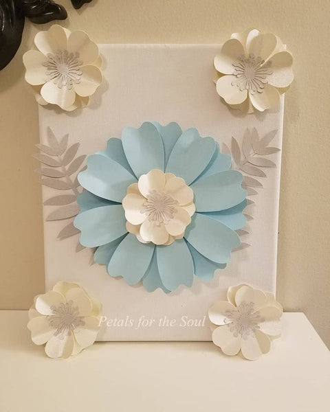 Baby Blue and Pearl Paper Flower with Silver Leaves Wall Art | Paper Flower Canvas | Home Decor | Living | Bedroom | Nursery Decor | Gift
