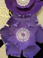 Set of 4 Piece Purple White Gold Paper Peony Flower | Nursery Decor | Office Home Decor | Wall Hanging | Royal Theme Party | Butterflies
