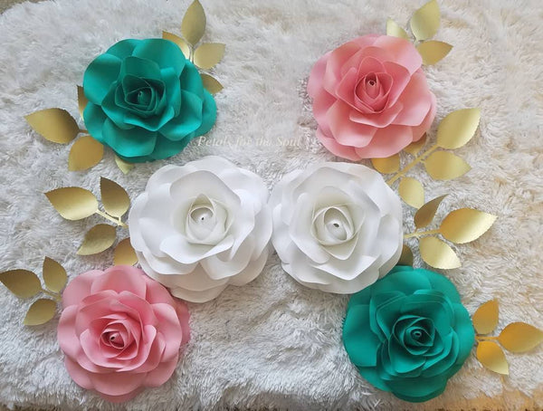 Set of 6 Piece Pink White Teal Paper Roses Flower | Nursery Decor | Wall Decor | Party Decor | Bridal Shower Decor | Wedding Decor | Backdrop