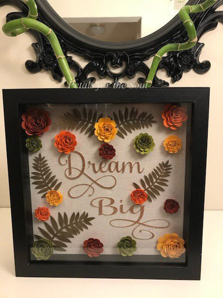 Dream Big Paper Flower Rose Shadow Box | Home Decor | Wall Decor Paper Flowers | Motivation Gift |Graduation Gift