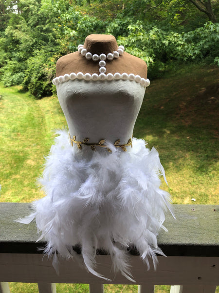 Bride Feather Centerpiece | Mannequin | Princess Feather Dress | Dress | Pearls | Bridal Shower Decor | Wedding Decor | Sweet 16 Decor