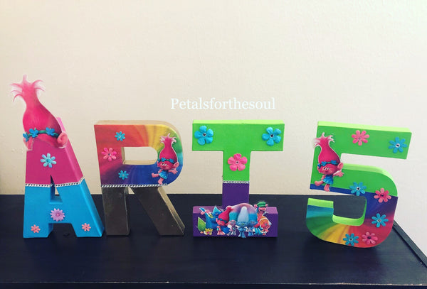 Poppy Troll Inspired 8 inch Letter Decor | Freestanding Paper Mache Letter | Wall Decoration | Birthday Photo Shoot Prop