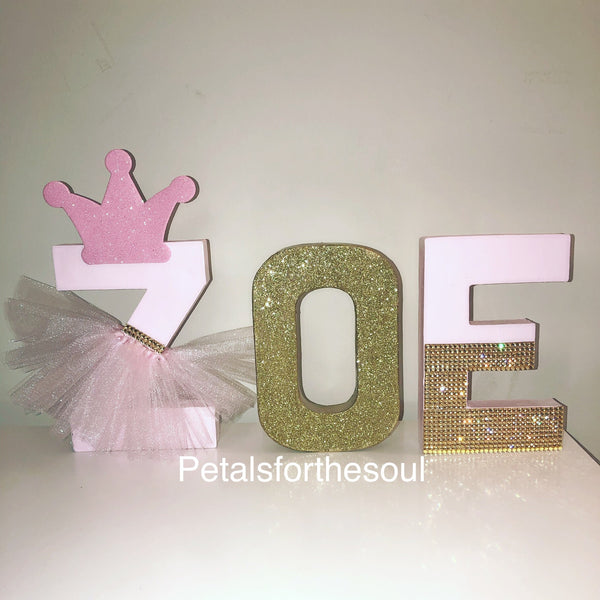 Princess 8 inch Letter Decor | Freestanding Paper Mache Letter | Girl Decoration | Birthday Photo Shoot Prop