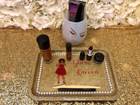 Glam Queen Tray| Professional Woman| Glam Lady | Glitter Makeup Gram Tray Brush Holder| Makeup Glam Tray | Vanity Decor | Bride Bridesmaids Gift