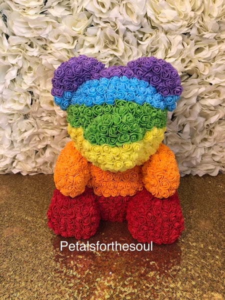 Rainbow Love Sitting Forever Rose Bear | Teddy Bear Made of Roses | Engagement Gift | Birthday Gift | Get Well Gift | Newborn Gift