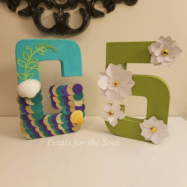 Mermaid Under the Sea 8 inch Letters & Number Decor | Freestanding Paper Mache Letters|Princess Party Decorations | Birthday Photo Shoot Prop