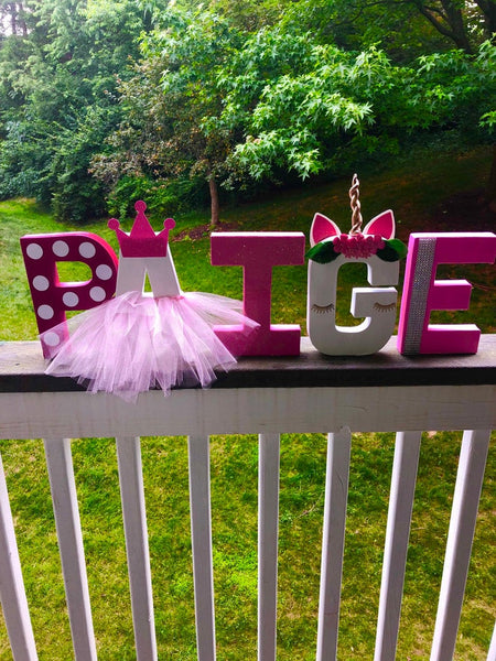 Unicorn Princess 8 inch Letters Decor | Freestanding Paper Mache Letters| Princess Party Decorations |Birthday Photo Shoot Prop