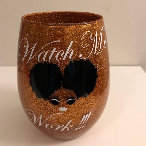 Watch Me Work!!! Afro Woman| Lady | Latina | Girl Glitter Makeup Brush Holder| Makeup Brush Jar| Vanity Decor | Bride Bridesmaids Gift